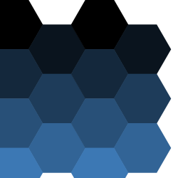 A tiling of hexagons in increasingly lighter shades of blue.