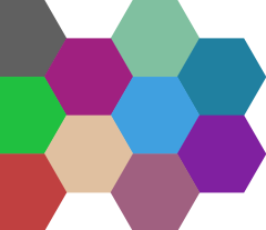 A tiling of randomly colors hexagons.