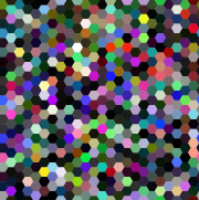 Grid of randomly colored hexagons